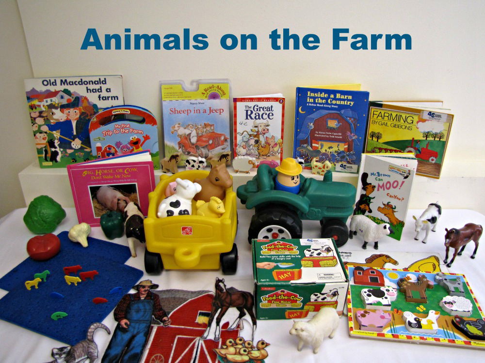"An example of an ""Animals on the Farm"" themed toy kit including books and toys that teach about different animals"