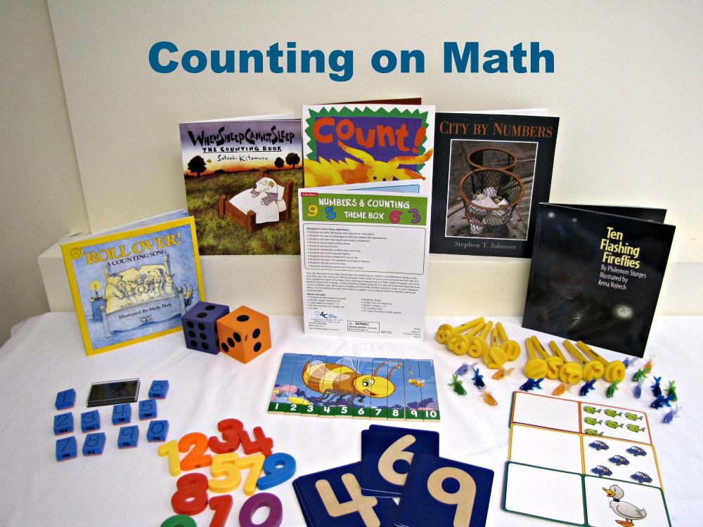 "An example of a ""Counting on Math"" themed back pack with books and activities about math"