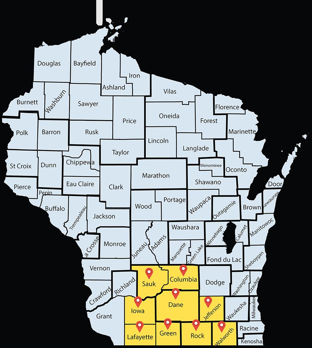 Map of Wisconsin highlighting Sauk, Columbia, Iowa, Dane, Jefferson, Lafayette, Green, Rock, and Walworth Counties